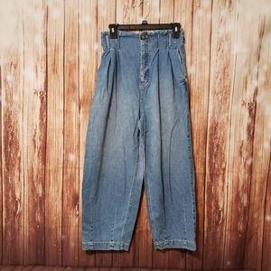 Free People Demin Pleaded Paperbag Pants